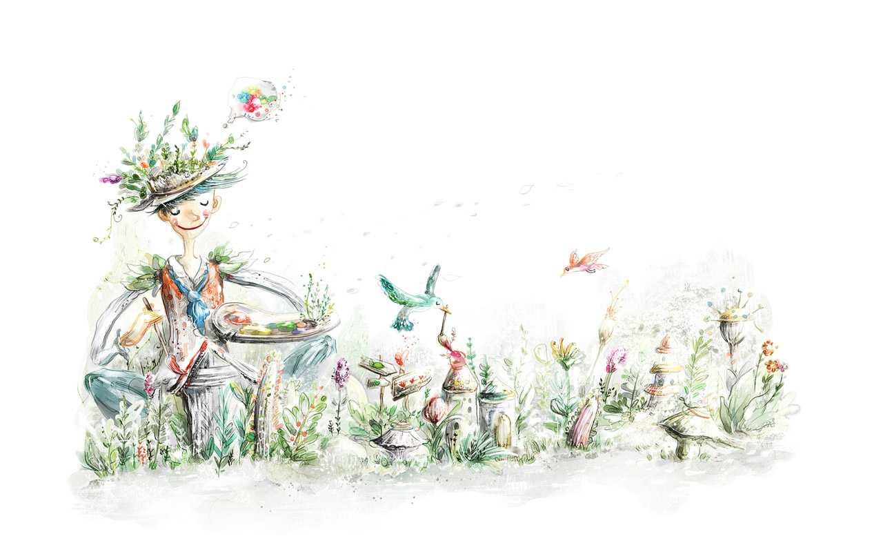 手绘淡彩风格童话壁纸