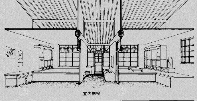 手绘古房屋